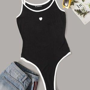 Black Bodysuit w/ White Embroidered Heart